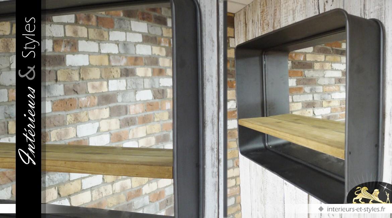 Miroir Mural Rectangulaire Style Industriel Avec étagère