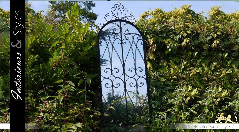 Grand miroir fenêtre en fer forgé patine noir antique (200 cm)