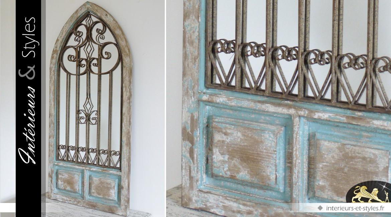 miroir fen tre grille en fer forg gothique en ogive 137 cm int rieurs styles. Black Bedroom Furniture Sets. Home Design Ideas