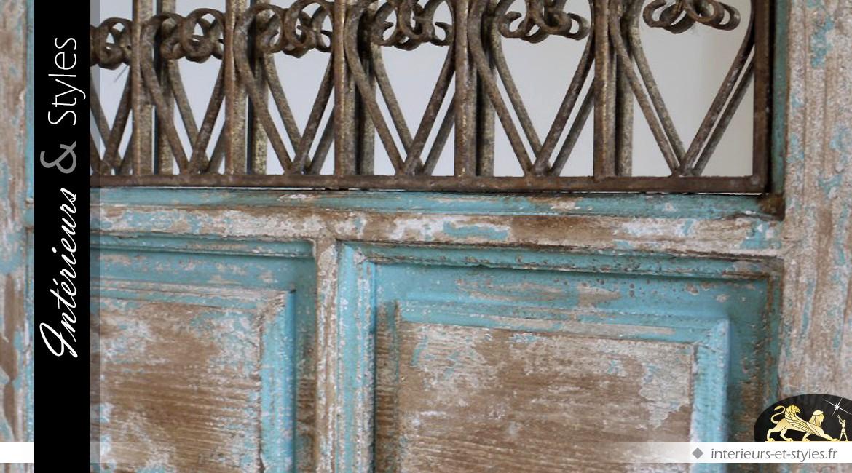 Miroir fenêtre à grille en fer forgé gothique en ogive 137 cm