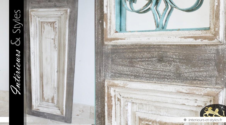 Miroir porte de style rétro brocante avec grille fer forgé 186 cm