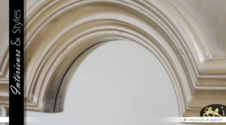 Miroir mural décoratif coloris argent Ø 86 cm