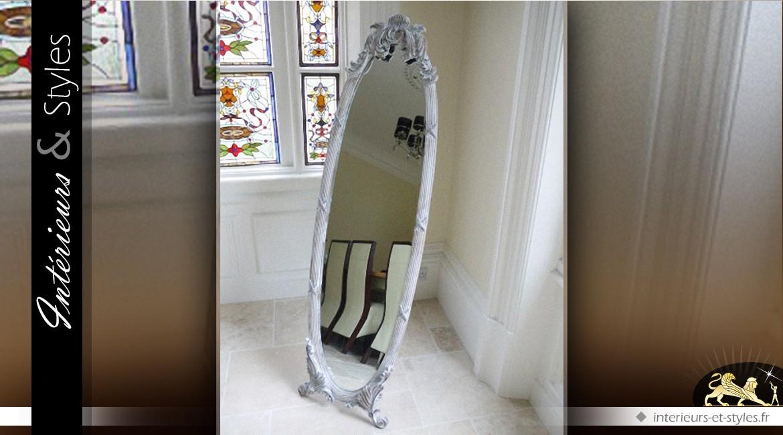 Miroir ovale psyché baroque gris clair