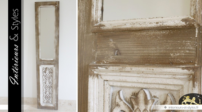 Miroir porte de style rustique et brocante 186 cm