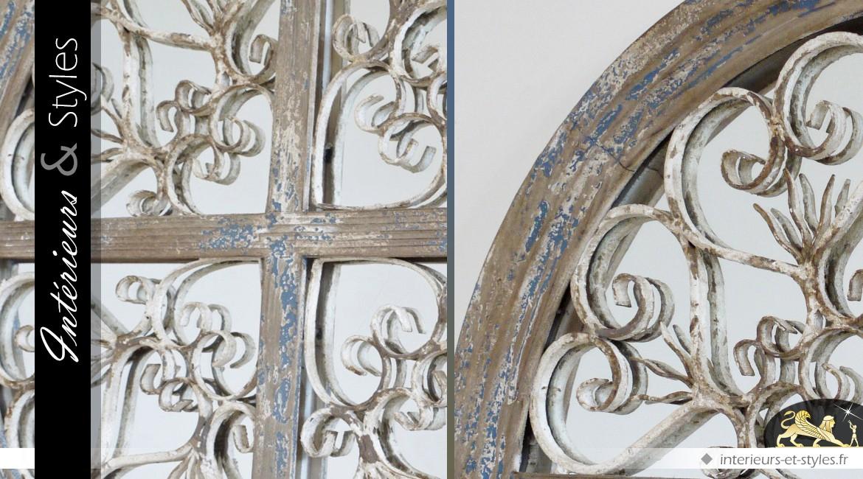 Grand miroir rond rustique et brocante bois et métal Ø 72 cm