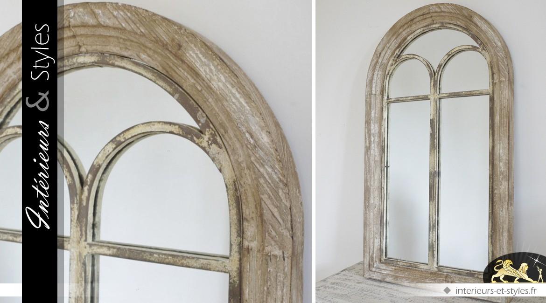 Miroir Fenêtre En Bois Ancien à Fronton En Arcade 94 Cm Intérieurs
