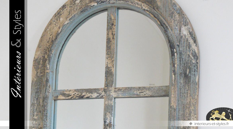 Miroir fen tre en arcade de style rustique et brocante 111 - Miroir style fenetre ...