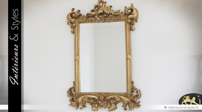 Miroir mural rectangulaire doré de style baroque 91 cm
