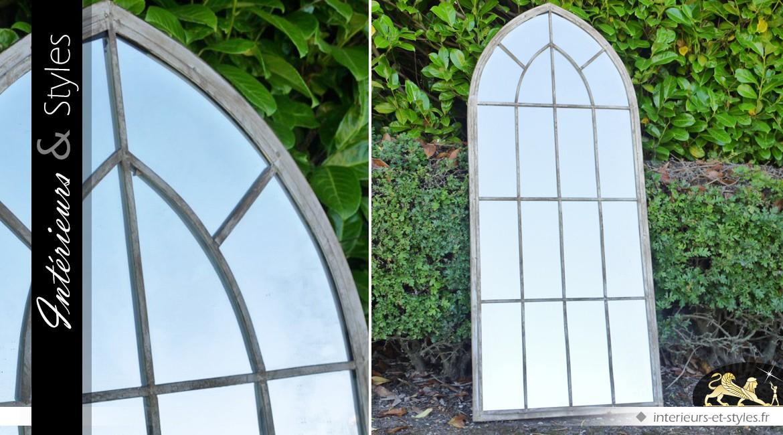 Grand miroir-fenêtre en bois vieilli 169 cm