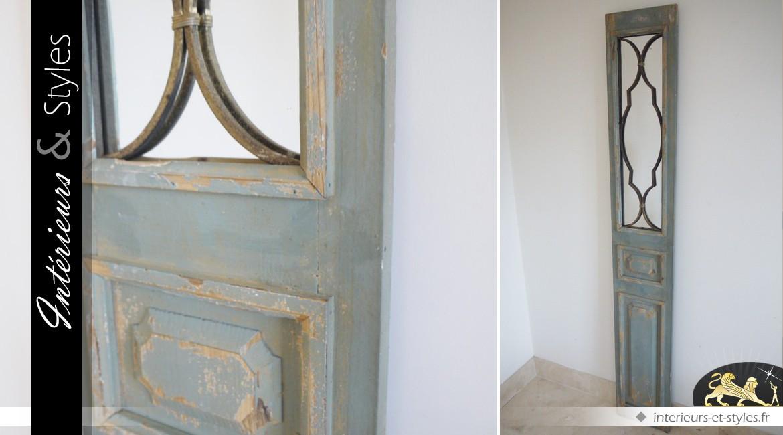 Miroir mural décoratif ancien battant de porte bois et métal 194 cm