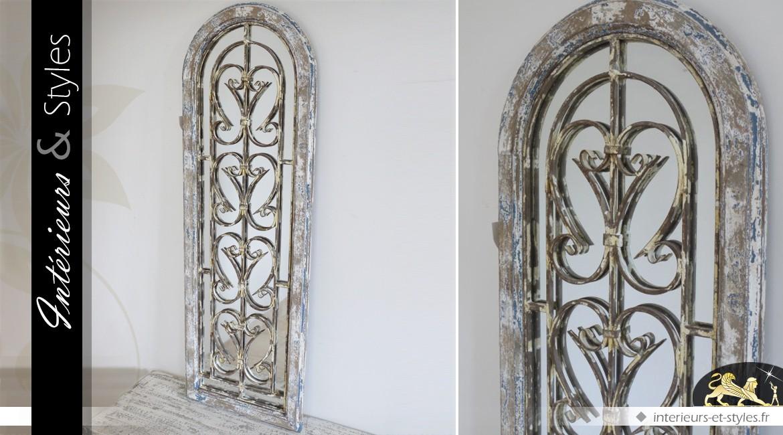 Miroir fen tre brocante bois et m tal forme en arcade 122 cm int rieurs styles for Miroir forme fenetre