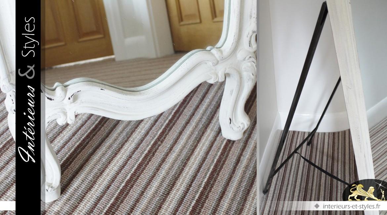 Miroir psyché de style baroque finition blanche vieillie 160 cm