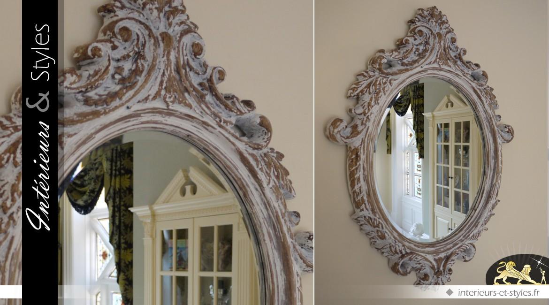Miroir Baroque Ovale Patine Antique Blanchie 84 Cm