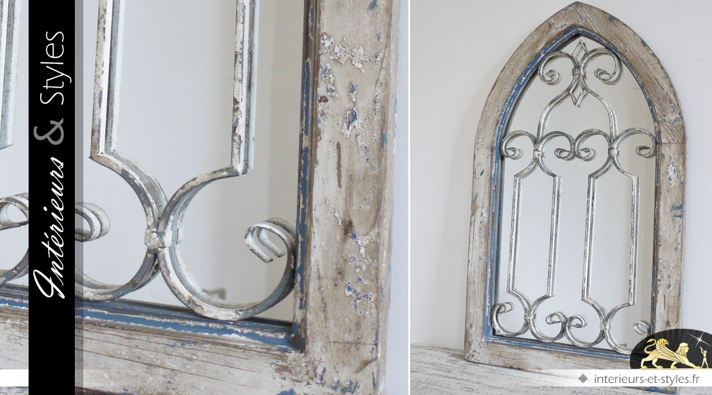 miroir fentre en ogive en bois et mtal style dco brocante