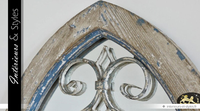 Miroir fen tre en ogive en bois et m tal style d co brocante int rieurs styles for Miroir style fenetre