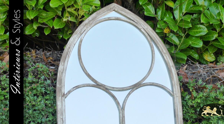 Miroir-fenêtre de style ancien finition patinée 122 cm