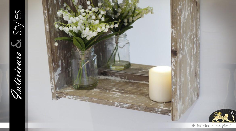 Miroir étagère en bois de style rustique 45 cm