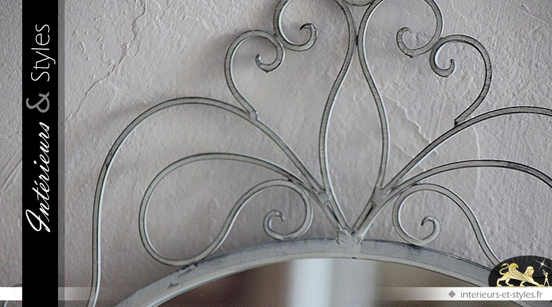 Miroir marquise blanc imitation en fer forgé 75 cm
