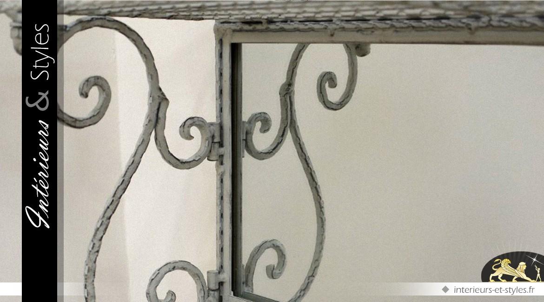 Etagère murale baroque avec miroir en fer forgé gris antique