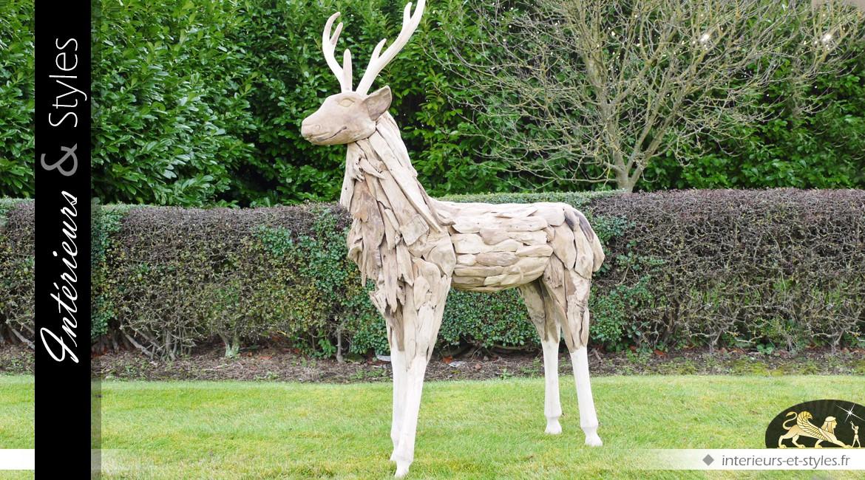 Sculpture artisanale de cerf en bois flotté 147 cm