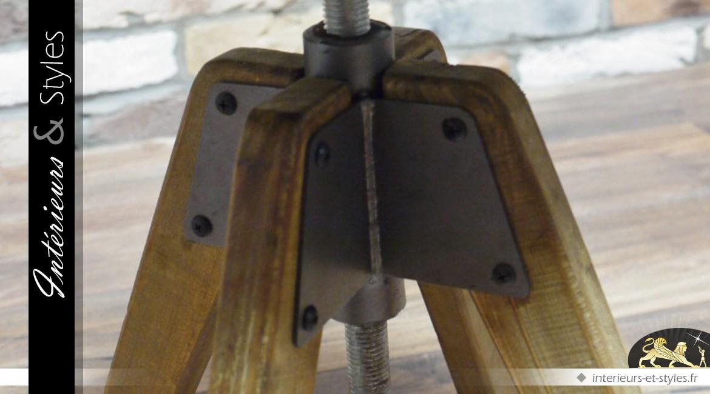 Tabouret réglable en bois et métal de style industriel
