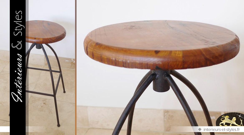 Tabouret en bois massif et métal de style rétro et industriel