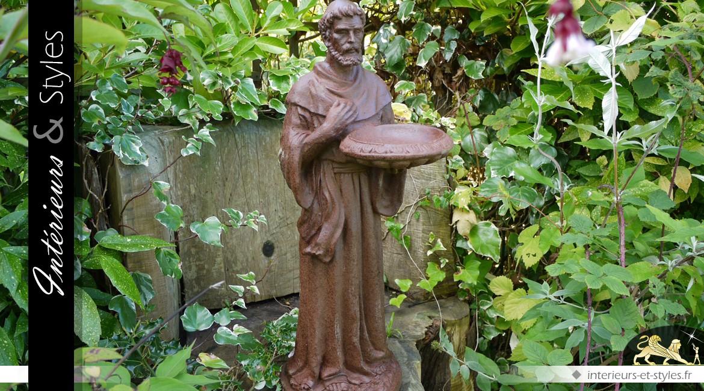 Statuette de moine avec mangeoire pour oiseaux
