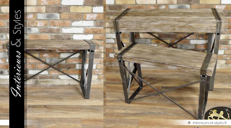Console vintage et indus finition bois ancien
