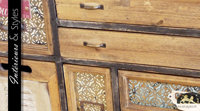 Commode à 9 tiroirs et une porte de style éclectique