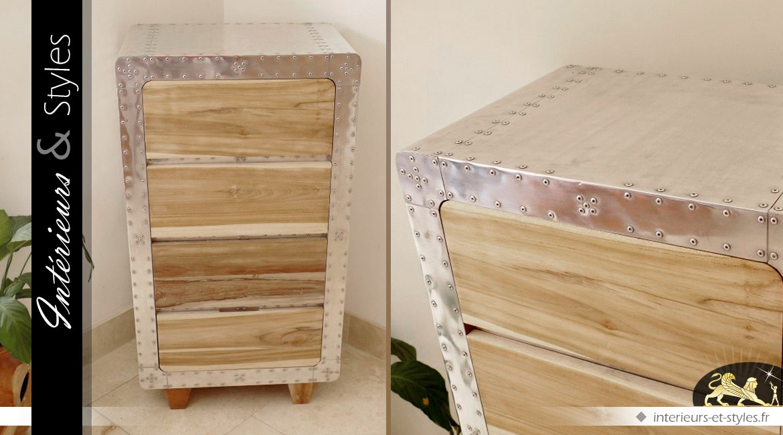 Chiffonnier à 4 tiroirs en bois et métal collection Aviator