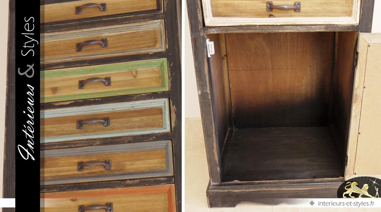 Haut chiffonnier à 11 tiroirs et 1 porte finition multicolore