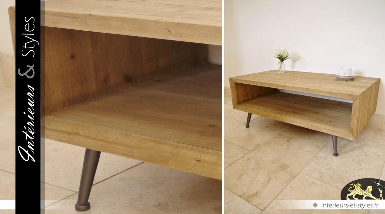 Table basse en bois et métal style massif et vintage