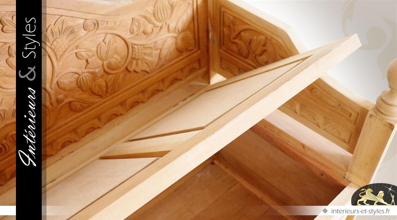 Banc Coffre En Bois Massif Sculpte A La Main Sans Finition Interieurs Styles
