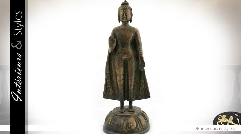 Statuette de bouddha en bronze (35 cm)