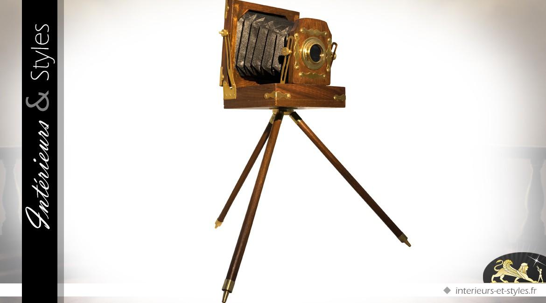 Appareil photo ancien à soufflet sur trépied (46 cm)
