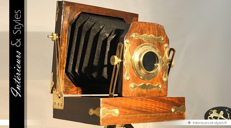 appareil photo ancien soufflet sur tr pied 46 cm int rieurs styles. Black Bedroom Furniture Sets. Home Design Ideas