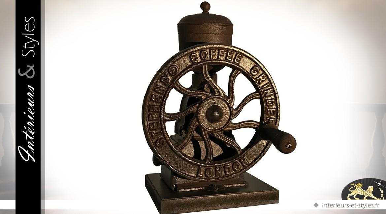 Ancien moulin à café à roue en fonte et bois (28 cm)