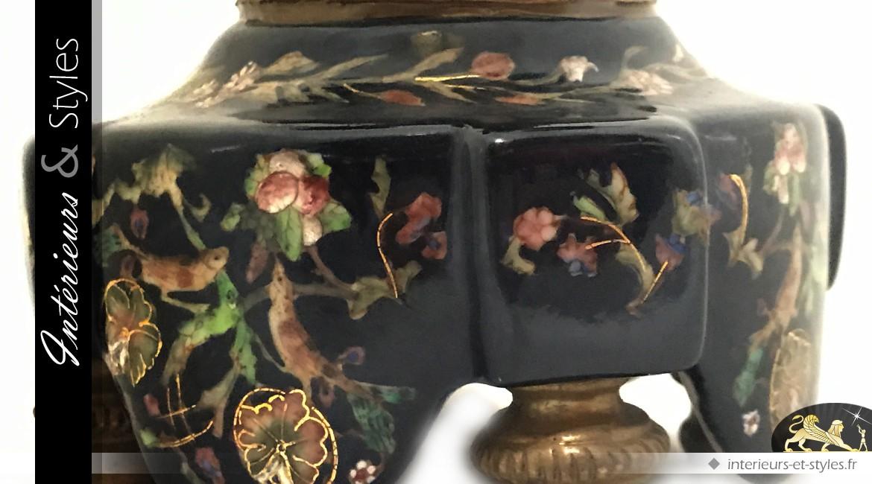 Chandelier à 2 bras ange bronze et porcelaine fleurie (40 cm)