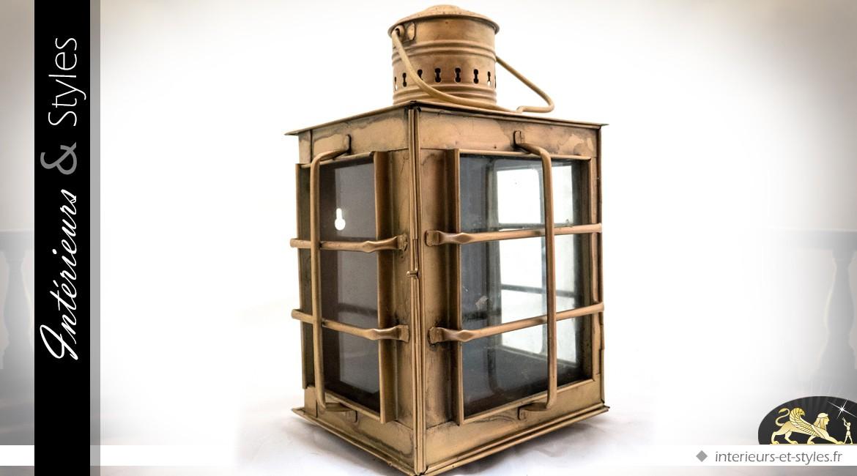 Lanterne ancienne en laiton doré de de style rétro (40 cm)