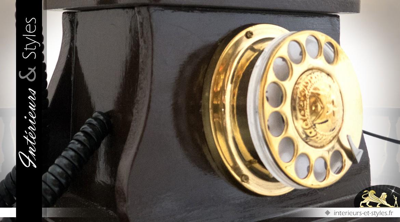 Reproduction téléphone ancien à cadran coloris brun et or