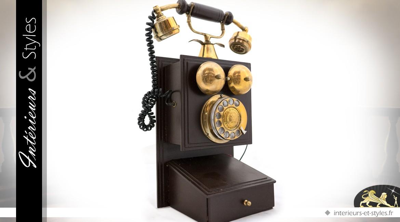 Reproduction téléphone mural ancien coloris brun et or