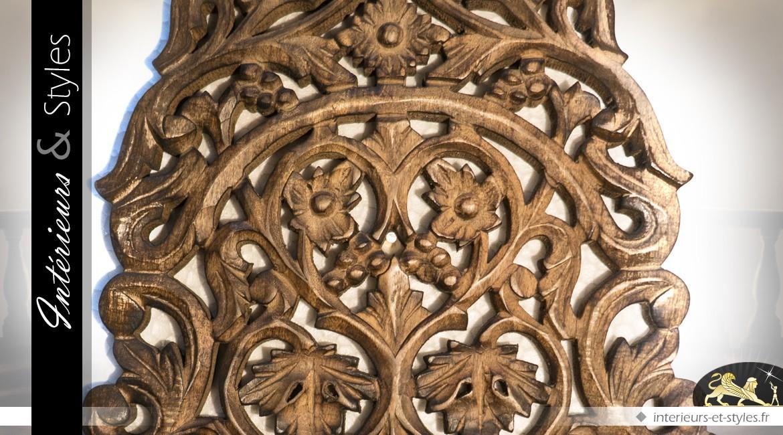 Etagère applique murale en bois massif sculpté de style rétro (45 cm)