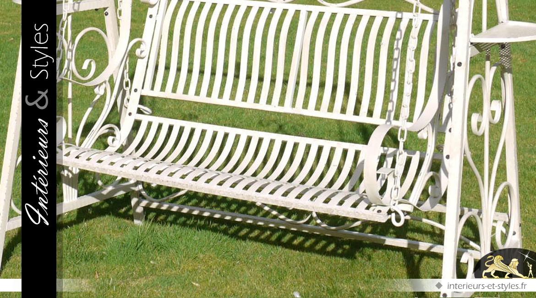 Balancelle de jardin en métal patine crème antique