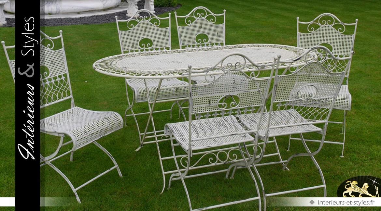 Grand salon de jardin luxe en métal et fer forgé | Intérieurs & Styles