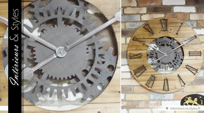 Très grande horloge de style industriel à engrenages Ø 80 cm