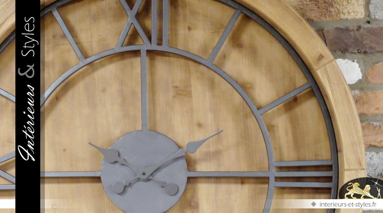 horloge murale ronde xxl 100 cm de style industriel bois et m tal int rieurs styles. Black Bedroom Furniture Sets. Home Design Ideas