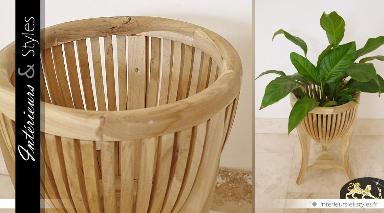 Support cache pot en bois de Mindi de style exotique