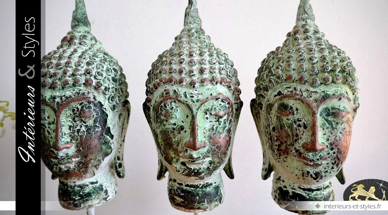 Bougeoir porte-photophores à 3 têtes de bouddhas vert antique