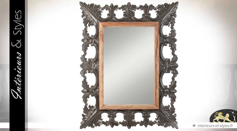 Grand miroir en bois et métal de style baroque 150 cm