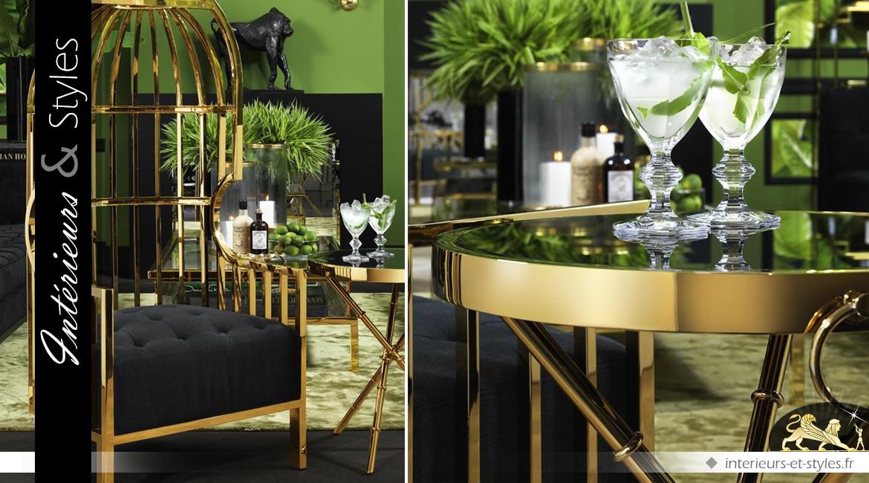 Guéridon style Art Déco en acier inoxydable doré et verre noir Ø 52 cm